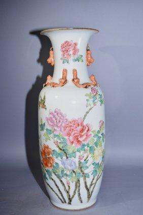 Large 19th C. Chinese Famille Rose Flower Vase