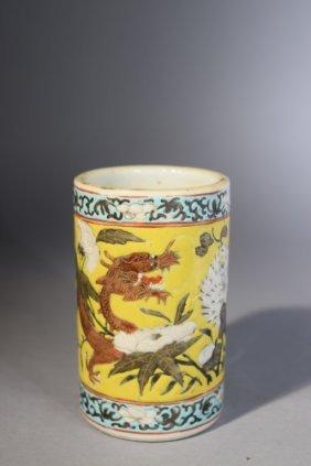19th C. Chinese Famille Rose Dragon Brush Pot