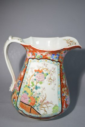 Early 20th C.japanese Hand Painted Water Pitcher