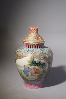 Republic Chinese Famille Rose Covered Vase
