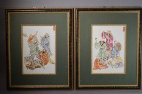 Set Of Two Chinese Famille Rose Luohan Plaques