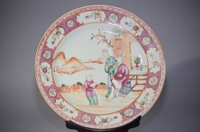 17-18th C. Chinese Famille Rose Export Plate