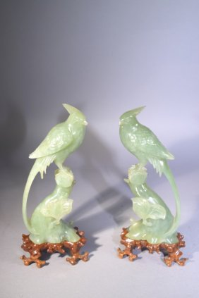 Pair Of 20th C. Chinese Jade Carved Birds