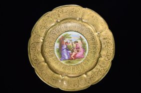 Hand Painted Haviland France Sevres Gilt Plate