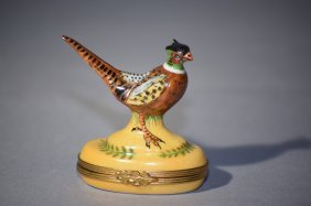 Antique Limoges France Pheasant Trinket Box