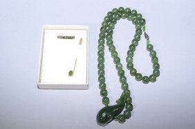 Spinach Jade Necklace And Brooch