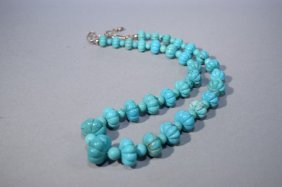 Chinese Turquoise Carved Melon Bead Necklace