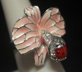 Beautiful Flower & Ladybug Designer Silver Ring