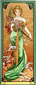 The Season: Spring - Lithograph By Alphonse Mucha
