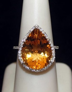 Gorgeous 14kt Over Silver Ring With Pear Shape Citrine