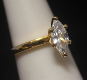 Fine 14kt Gold Over Silver Marquise Shape Russian Cubic