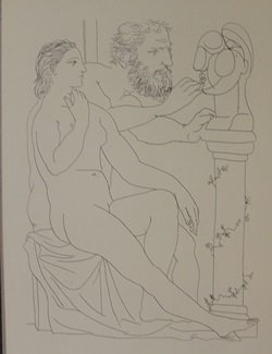 Seated Model Studying Head Lithograph - Picasso