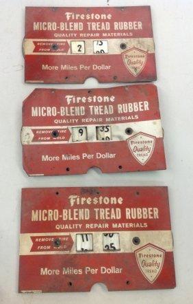Lot Of 3 Firestone Micro-blend Tread Rubber Signs