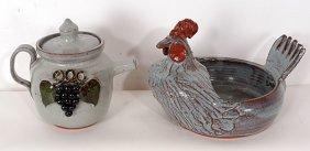 Michael Meaders Tea Pot & Rooster.