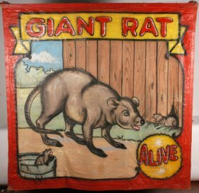 Fred Johnson. Giant Rat Freakshow Banner.