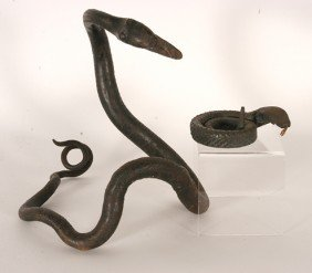Pair Of Hand-Forged Iron Snakes.