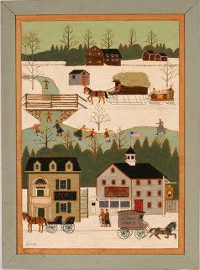 K. Harrigan. Winter Town Scene.
