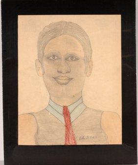 S.L. Jones. Portrait Of A Man W Red Tie.