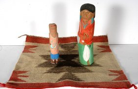 Larry Wilson & Dennis Pioche. Rug & Carved Figures.
