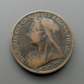 One Penny Coin From 1901 - England.