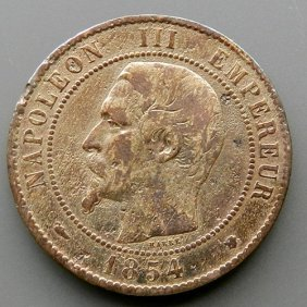 Bronze Coin Made In France In 1854. Napoleon Iii.