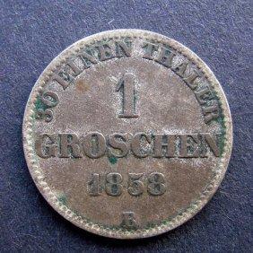1 Groschen Coin. Made In 1858. Made In German Emp