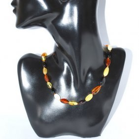 Necklace From Genuine Baltic Amber Plum Form Bead
