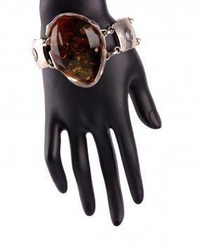 Massive Handmade Baltic Amber And Silver Bracelet