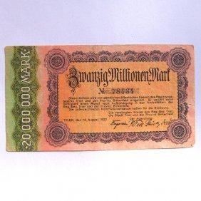 20 000 000 Mark Reichsbanknote, The German City O
