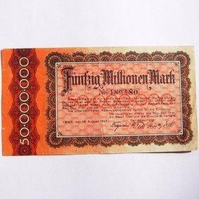 50 000 000 Mark Reichsbanknote, The German City O