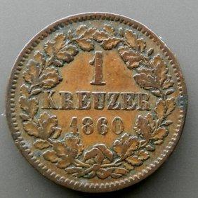 Bronze Coin - 1 Kreuzer. Germany Kingdom