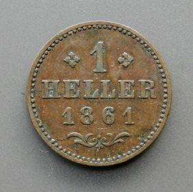 . 1 Heller Bronze Coin From 1861. German Empire.