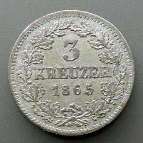 Silver Coin - 3 Kreuzer. German Empire, Bavaria