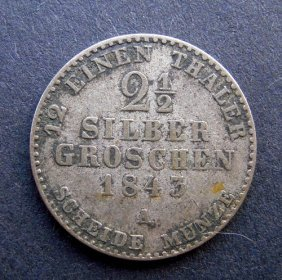 . 2 1/2 Silver Groschen Coin. Made In 1843. Made