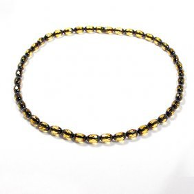Beautiful Faceted Two Sahdes Baltic Amber Neckla