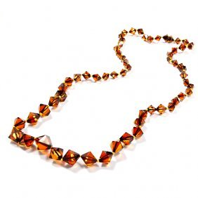 Interesting Shape Cognac Color Amber Beads Two Sh