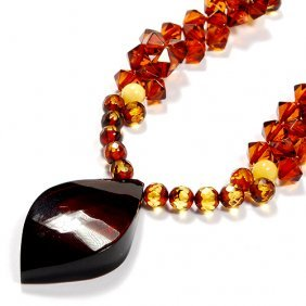High Quality Hand Crafted Faceted Amber Necklace