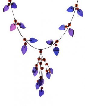 Night Magic Necklace From Blue Caribbean Amber