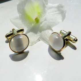 Antiquarian Gold Plated Cufflinks With Rose Quart