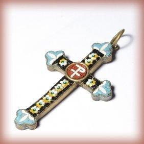 Goldstone Micromosaic Millefiori Cross Pendant Fr