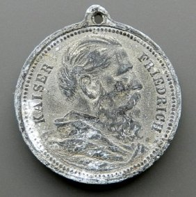 German Empire Medal With Image Of Emperor Friedri