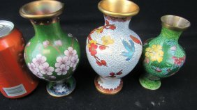 Set Of Three Chinese Cloisonne Floral Vases
