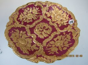 German Red And Gold Embellished Plate.