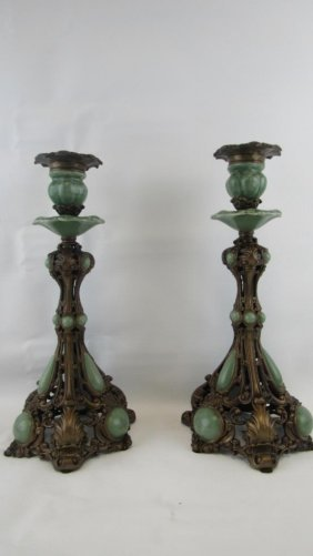 Chinese Bronze And Jade Candlesticks