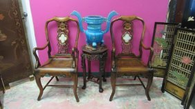 Pair Of Chinese Huanghuali Wood Chairs With Marble