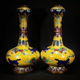 A Pair Of Chinese Cloisonne Enamel Vases Of Lions