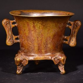A Tripod Bronze Censer