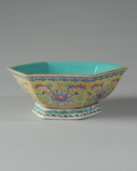 Chinese 6-sided Bowl W/ Yellow Ground Tongzhi Mark