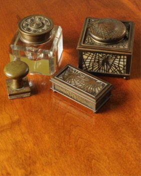Set Of Desk Accessories Including Tiffany Studios