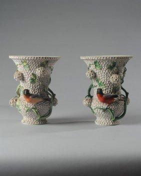 """Rare Pair Meissen Schneeballen """"snowball"""" Vases"""